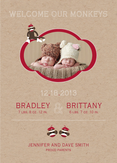 birth announcements - Sock Monkey Twins by paperie and ink