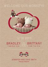 Sock Monkey Twins by paperie and ink