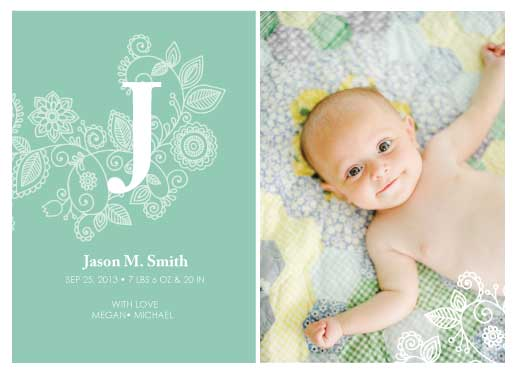 birth announcements - Baby Announcement with Big Letter by THE OOK