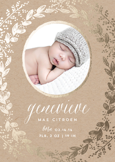 birth announcements - Gilded Garden by Sarah Curry
