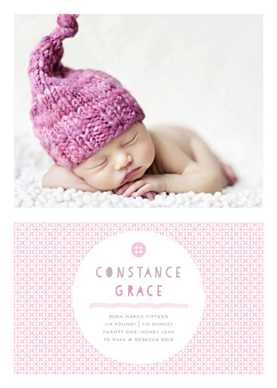 birth announcements - cute as a button by Carol Fazio