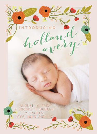 birth announcements - Charming Floral Frame by christina lepoutre