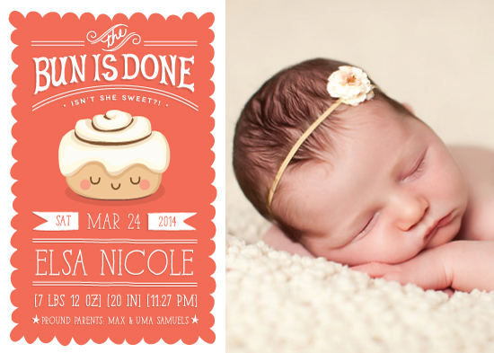 birth announcements - the bun is done! by Guess What Design Studio