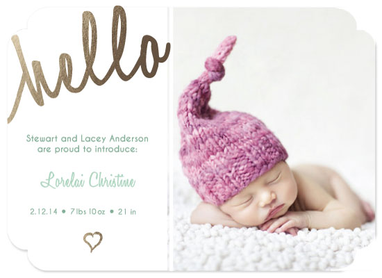 birth announcements - Golden Baby Hello by Jessica Pitts