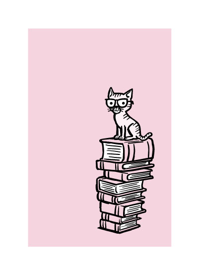 art prints - The Well-Read Cat by Jerry Gonzalez