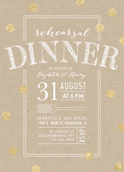 cards - Fork on Kraft Rehearsal Dinner by Erin Deegan
