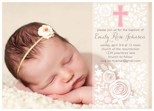 cards - Rose Garden Baptism & Christening by Bluejay Paper