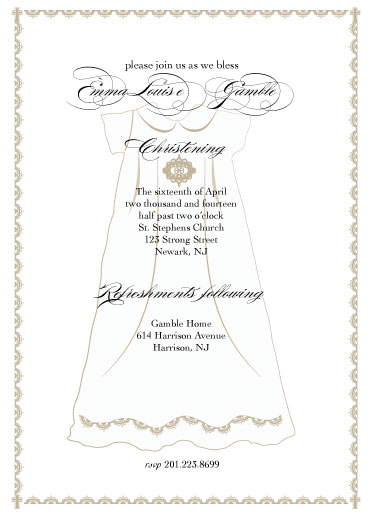 cards - formal christening by Nancy Jeanne Morlino