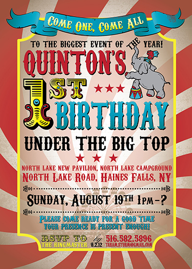party invitations - Vintage Big Top Circus Invitation by Tara Sturm