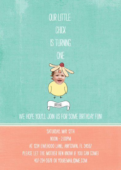 party invitations - Little Chick's First Birthday by Melanie Crownover