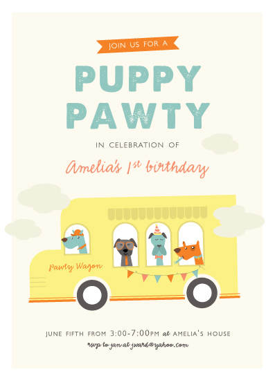 party invitations - Puppy Pawty by Bethany Anderson