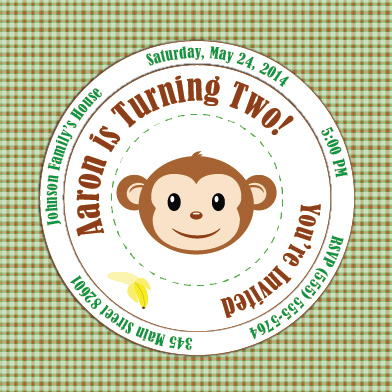 party invitations - Happy Monkey by Leslie
