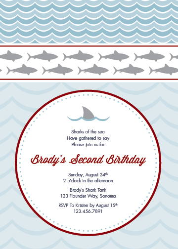 party invitations - Sharks of the Sea by Lea Renee Cram