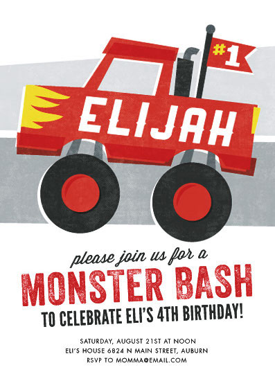party invitations - Mighty Monster Truck by Jessie Steury