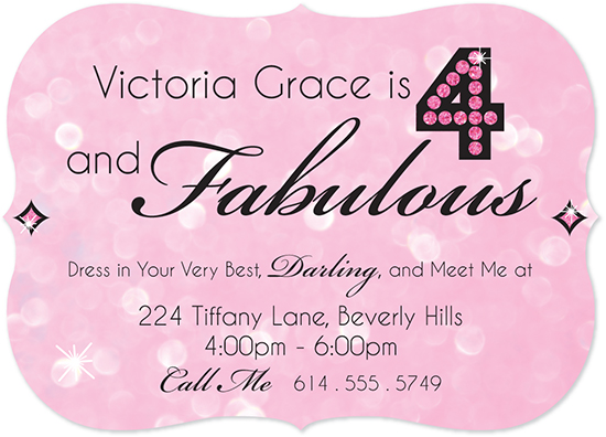 party invitations - 4 and Fabulous by Molly Courtright