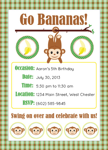 party invitations - Monkey Around by Leslie
