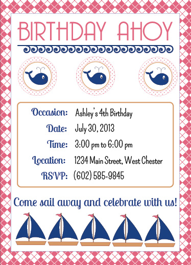 party invitations - Birthday Ahoy by Leslie