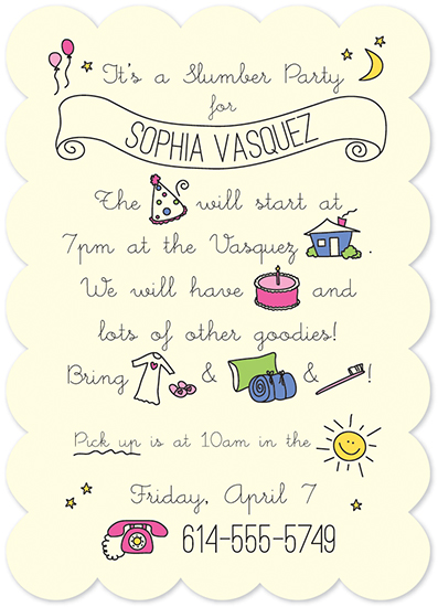 party invitations - Slumber Party Doodles by Molly Courtright