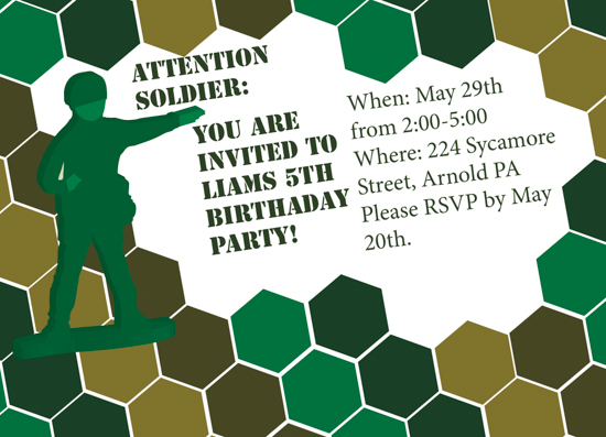 party invitations - Attention Soldier by Mitchell Jacobs