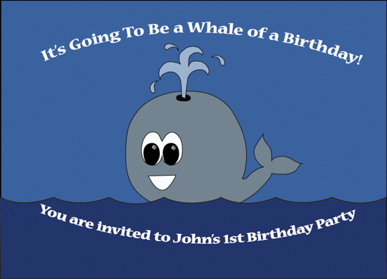 party invitations - Whale of a Time by John Mike