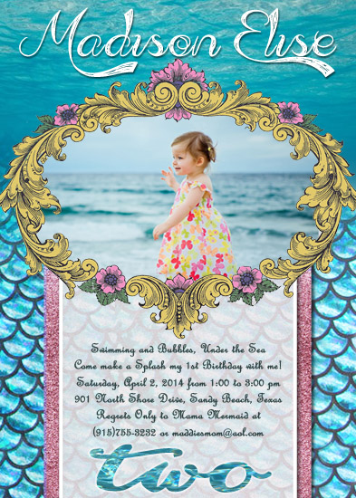 party invitations - Mermaid Princess by Sarah Ballew