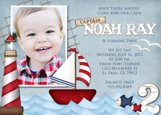 party invitations - Come Sail Away by Sarah Ballew