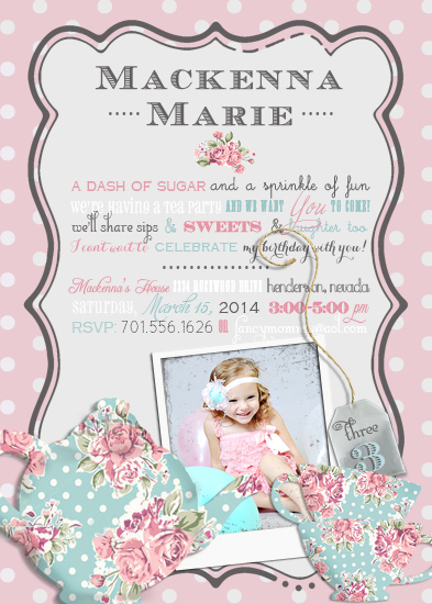party invitations - Tea Time by Sarah Ballew
