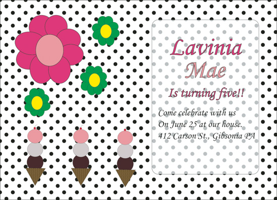 party invitations - Polka Dots and Flowers by Allison Ralston