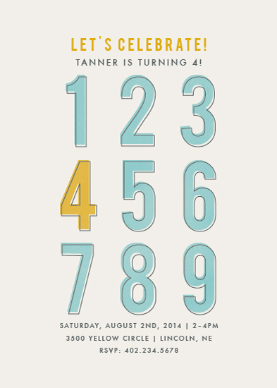 party invitations - Numbers by peony papeterie