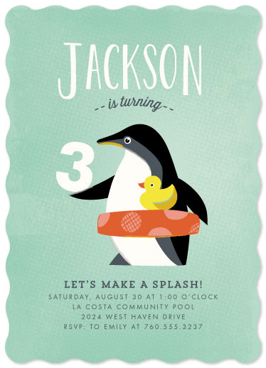 party invitations - Penguin Splash by Griffinbell Paper Co.