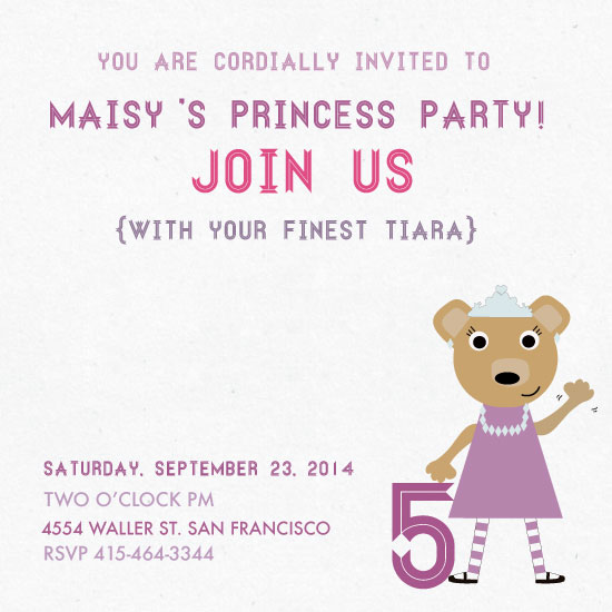 party invitations - Princess Cub by Dana Jennings