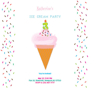 party invitations - Ice Cream Sprinkles by Shrubabati