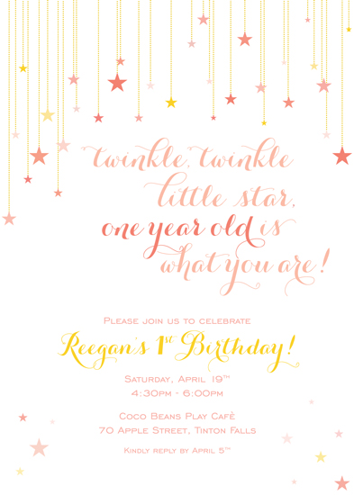 party invitations Twinkle Twinkle Little Star at Mintedcom
