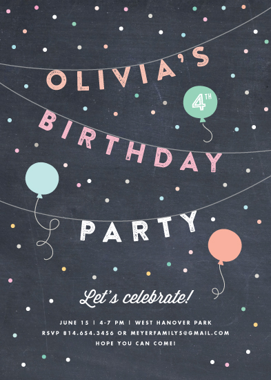 party invitations - Bright Birthday Bunting by Jennifer Wick