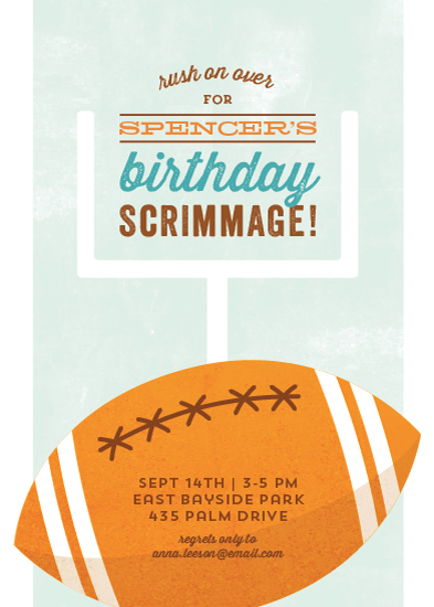 party invitations - Birthday Scrimmage by Kimberly Morgan