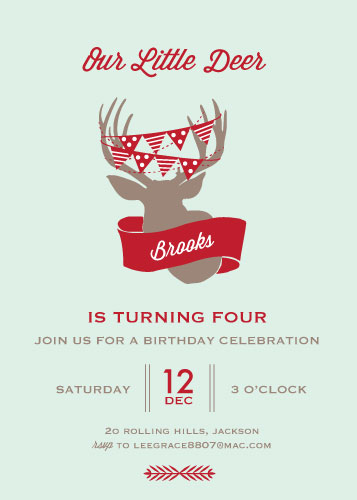 party invitations - Little Deer by Leila Rookstool