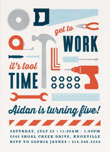 party invitations - tool time by Susan Asbill