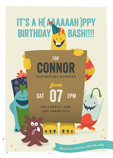 party invitations - Lil Booger Monsters by Melanie Pavao
