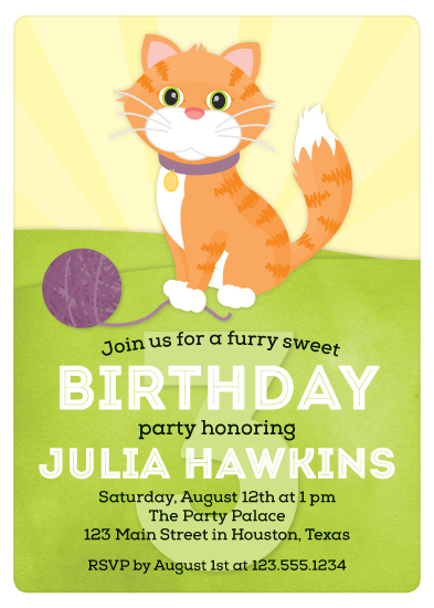 party invitations - Playful Kitty Cat by Little Bees Graphics