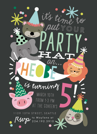 party invitations - Party Hat Animals by Alethea and Ruth