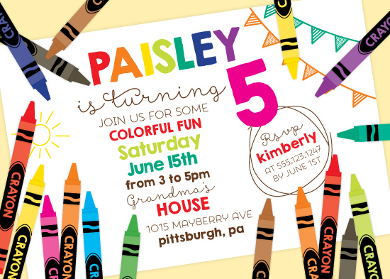 party invitations - Colorful Crayon by Little Bees Graphics