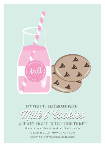 party invitations - Milk and Cookies by Leila Rookstool