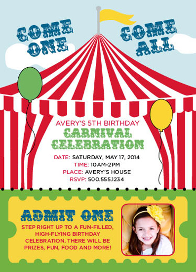 party invitations BigTopCarnival at Mintedcom