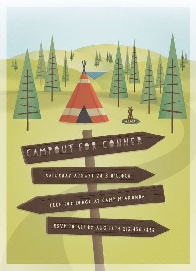 party invitations - Woodland Campout by Grace Kreinbrink