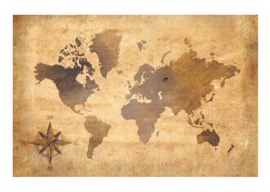 art prints - Vintage World Map by Amae Designs