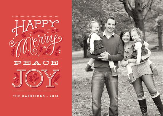 holiday photo cards - Happy merry peace joy by Jennifer Wick