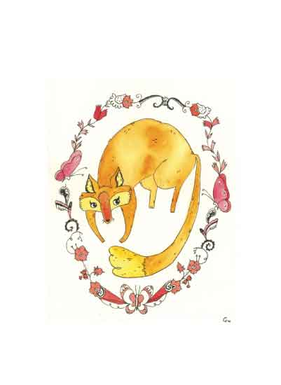 art prints - Floral Fox Design by Clare Forrest