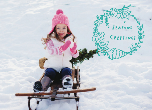 holiday photo cards - Hand Drawn Seasons Greetings by Clare Forrest