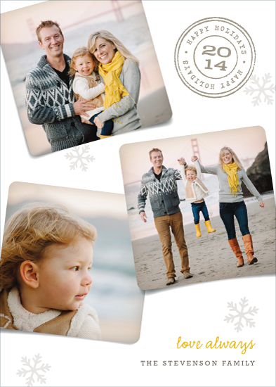 holiday photo cards - Triple Warm Wishes by Hooray Creative