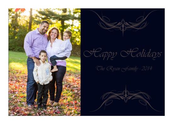 holiday photo cards - Navy Flourish Christmas card by Trisha Goldstrom